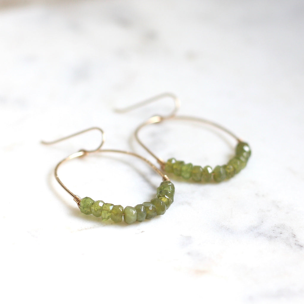 Luna Hoops - Vessuvianite - Amelia Lawrence Jewelry
