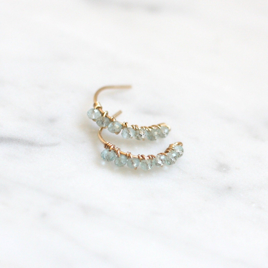 Heather Hoop Studs - Aquamarine - Amelia Lawrence Jewelry