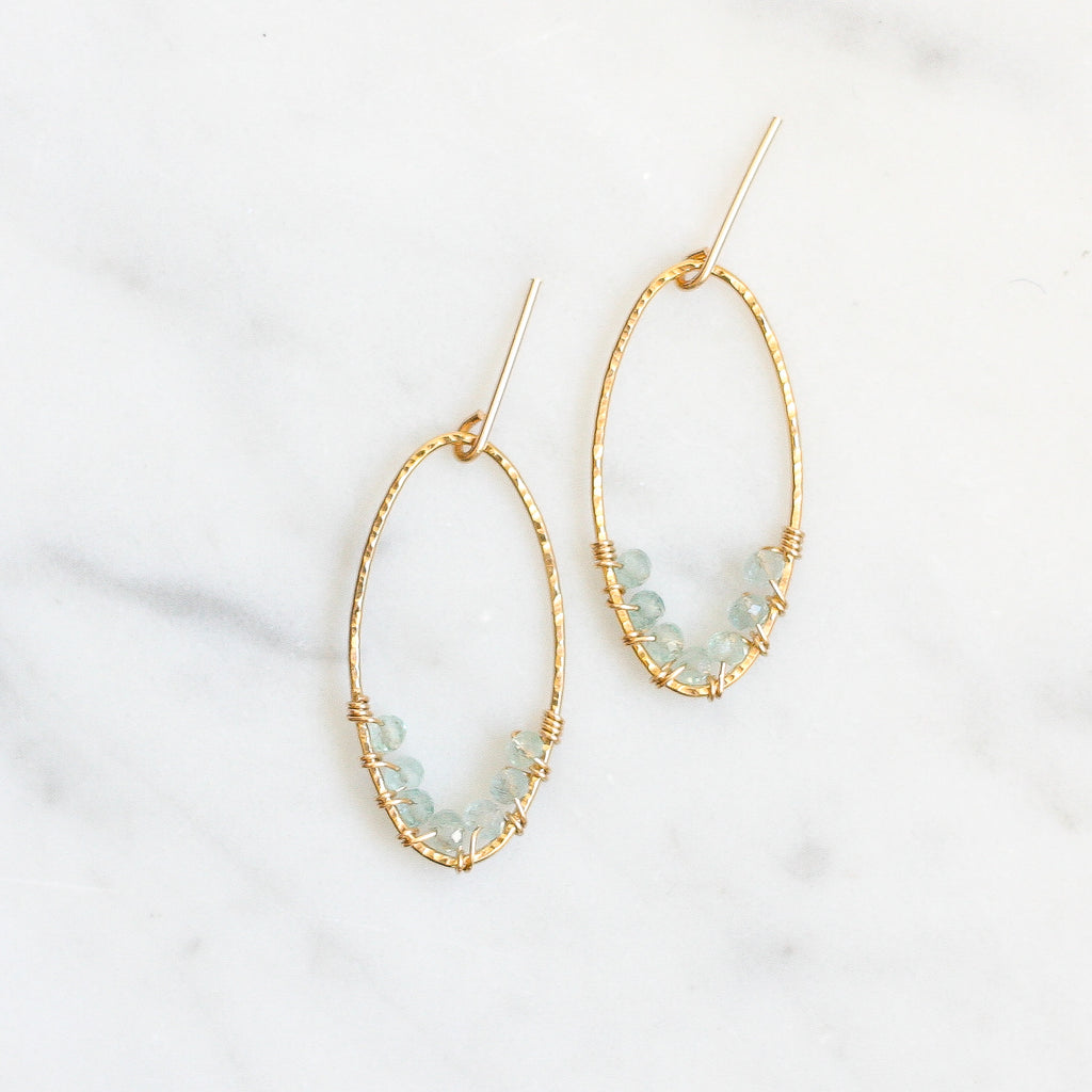 Aline Hoops - Aquamarine - Amelia Lawrence Jewelry