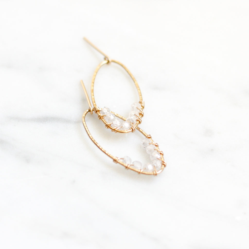 Aline Hoops - Clear Zircon - Amelia Lawrence Jewelry