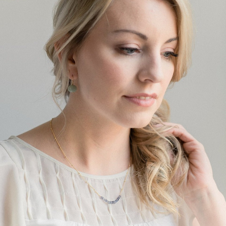Anna Curved Bar Necklace - Iolite - Amelia Lawrence Jewelry
