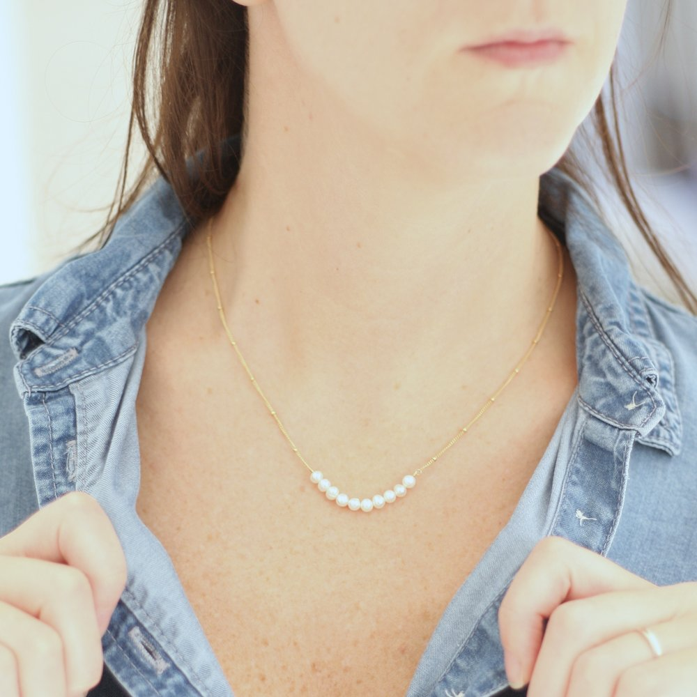 Anna Necklace - Fresh Water Pearl Ball Chain - Amelia Lawrence Jewelry