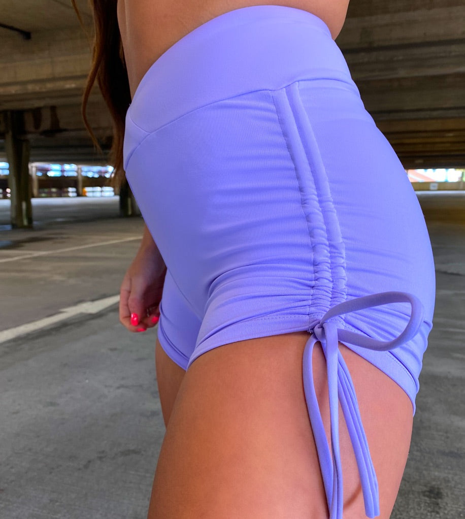 Kandi Periwinkle Slinky High Waisted Shorts