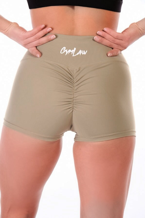 Khaki Scrunch Bum Shorts