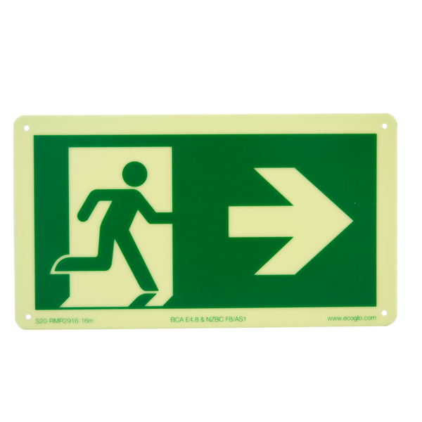 Ecoglo Exit Sign - Pictogram & Right Arrow