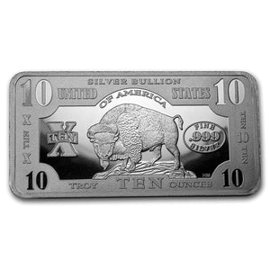 10 TROY OZ .999 FINE SILVER 1901 $10 BISON BAR BU