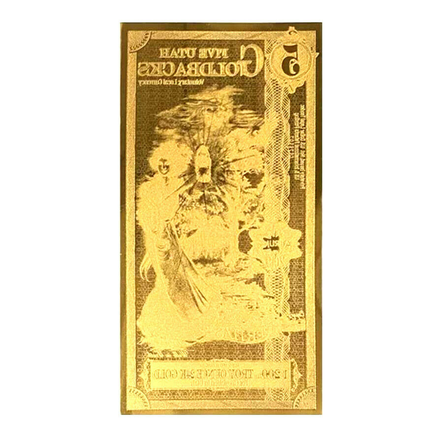 LOT 5 X 5 UTAH GOLDBACK AURUM 24KT GOLD FOIL NOTE BU 1/200 OZ .999 FINE GOLD