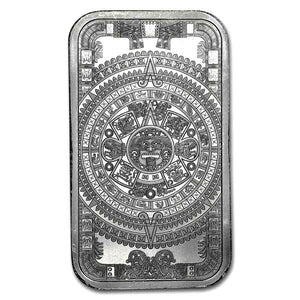 1 TROY OZ .999 SILVER AZTEC CALENDER BAR BU + 50 PIECE ALASKAN PURE GOLD NUGGETS