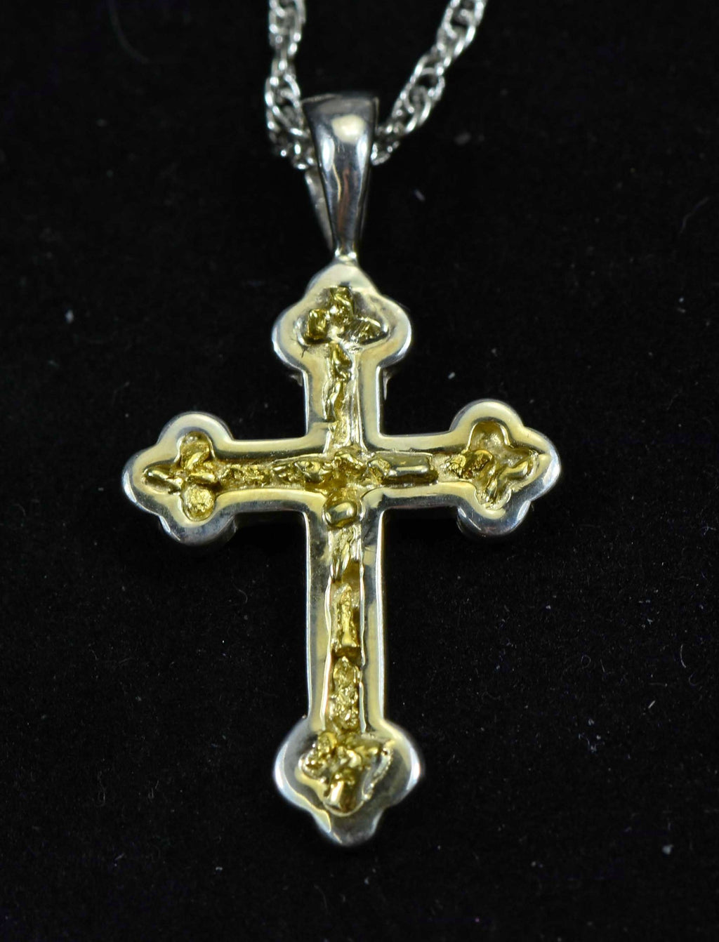 "Gold Nugget Cross - Sterling Silver - PCR7NSS - Hand Made ""Orocal"" Jewelry - Liquidbullion"