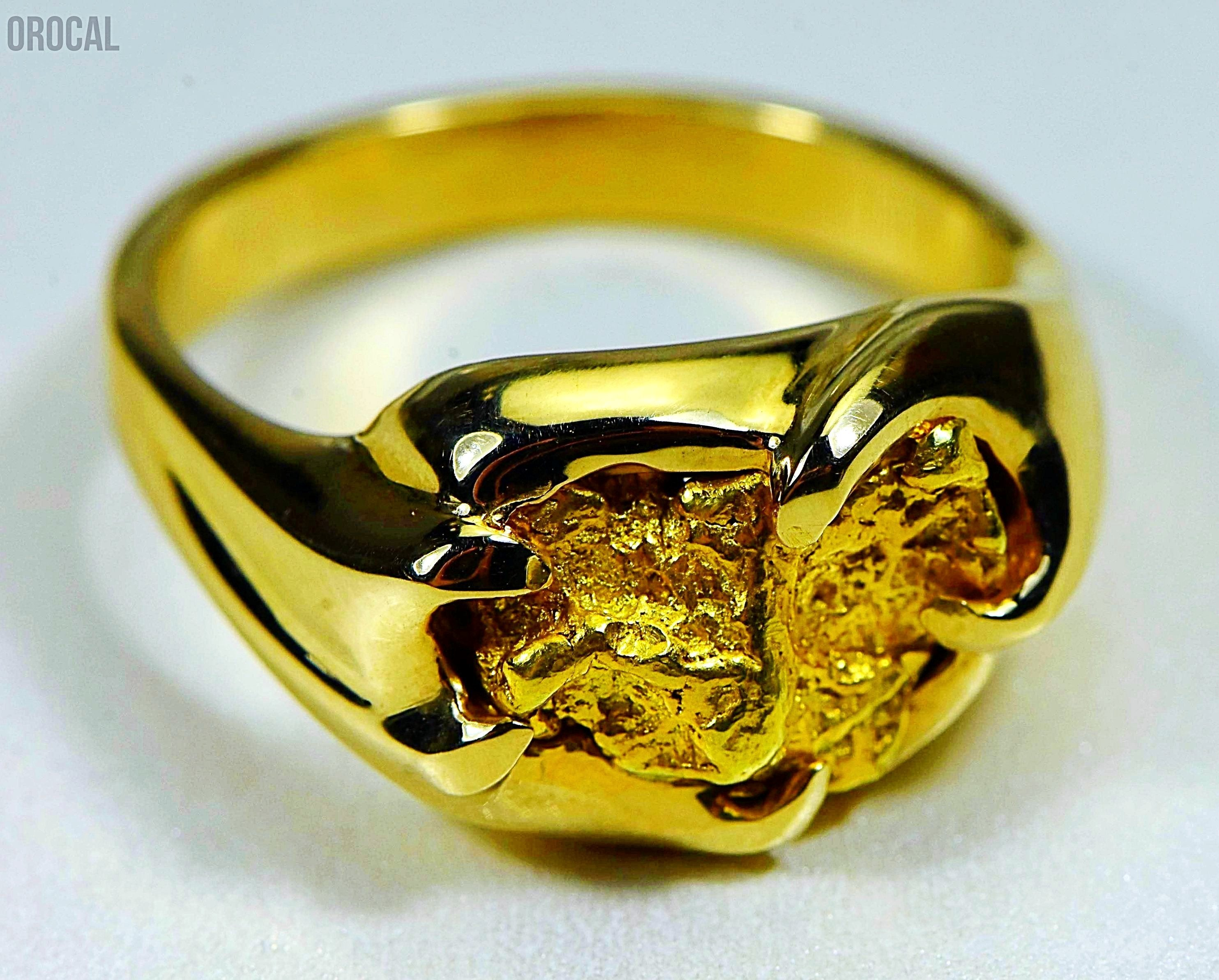 "Gold Nugget Men's Ring ""Orocal"" RMEN120 Genuine Hand Crafted Jewelry - 14K Casting - Liquidbullion"