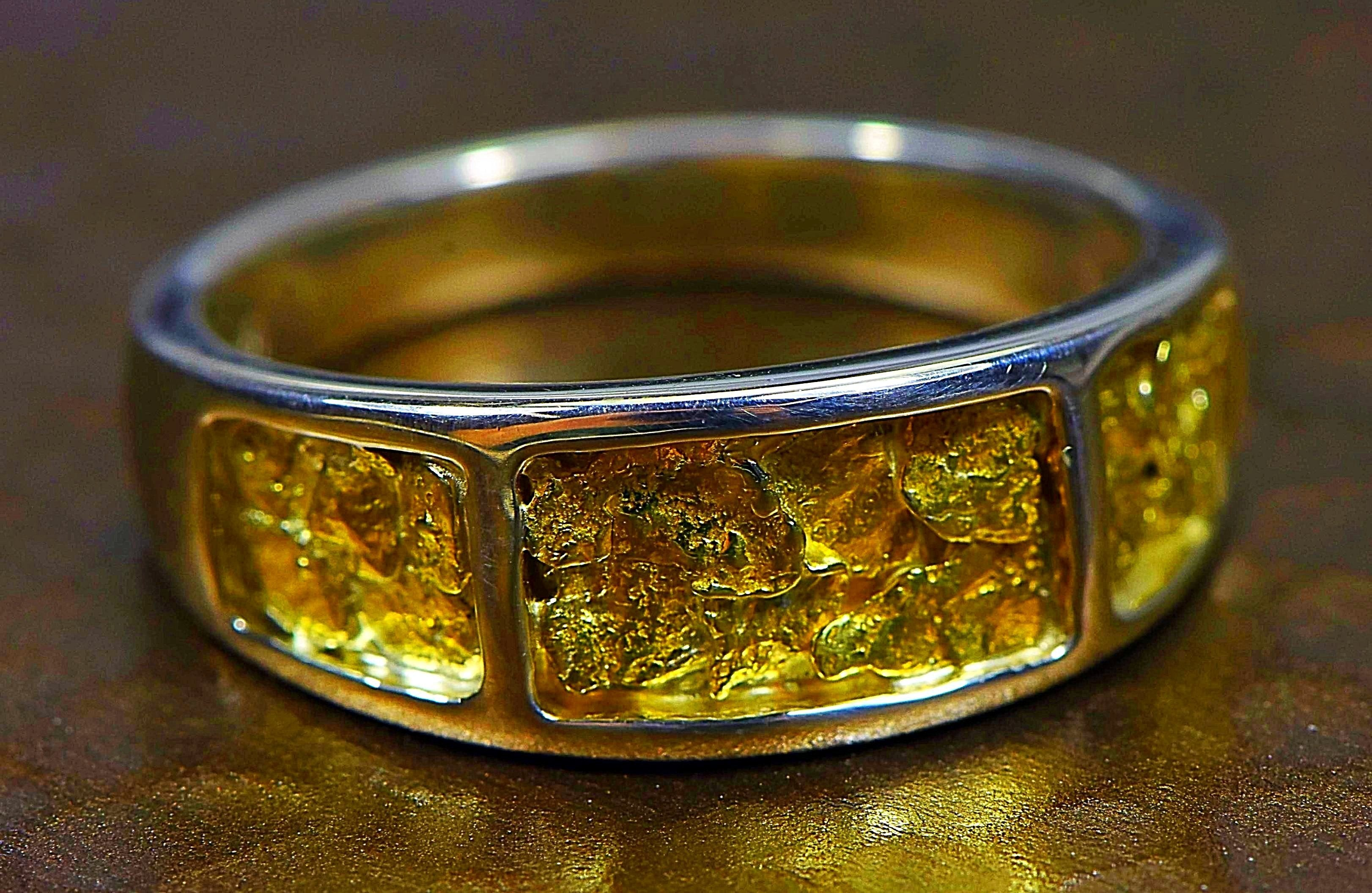 "Gold Nugget Men's Ring ""Orocal"" RM732NSS Genuine Hand Crafted Jewelry - Liquidbullion"