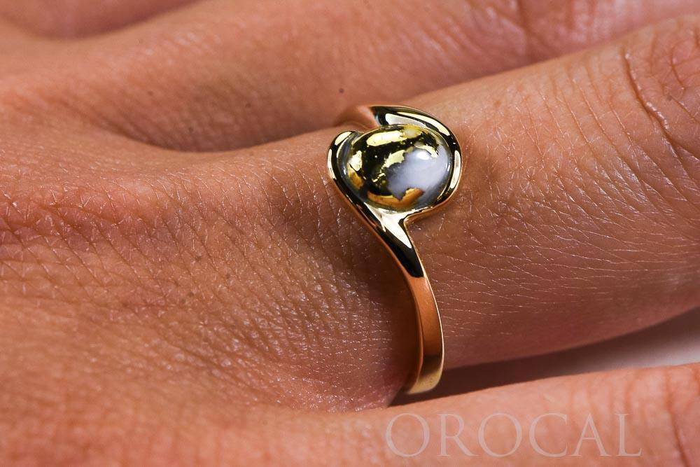"Gold Quartz Ladies Ring ""Orocal"" RL649Q Genuine Hand Crafted Jewelry - 14K Gold Casting - Liquidbullion"