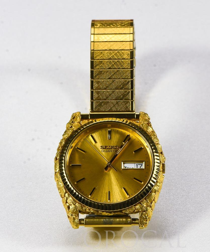 Seiko Gold Nugget Inlay Quartz Mens Watch w/ Flex Band by Orocal - Liquidbullion