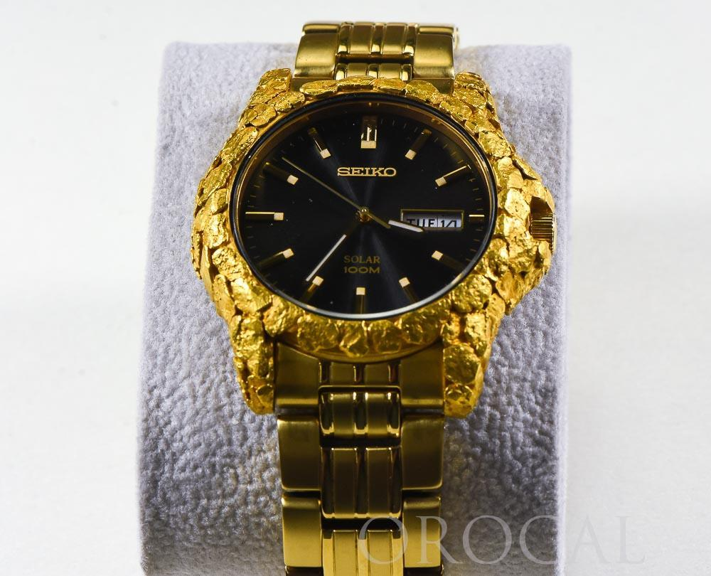 Seiko Gold Nugget Inlayed Solar Watch by Orocal - Liquidbullion