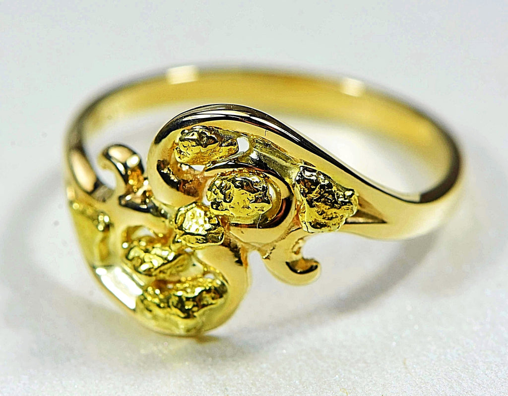 "Gold Nugget Ladies Ring ""Orocal"" RL186 Genuine Hand Crafted Jewelry - 14K Casting - Liquidbullion"