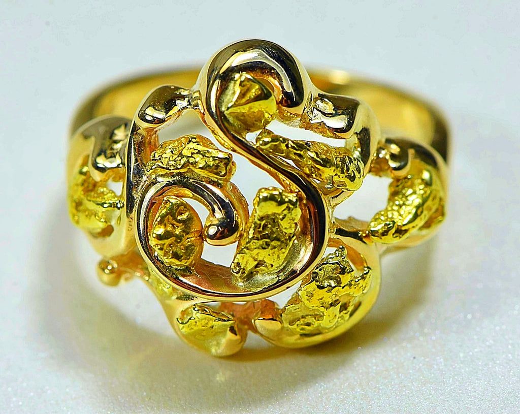 "Gold Nugget Ladies Ring ""Orocal"" RL462 Genuine Hand Crafted Jewelry - 14K Casting - Liquidbullion"