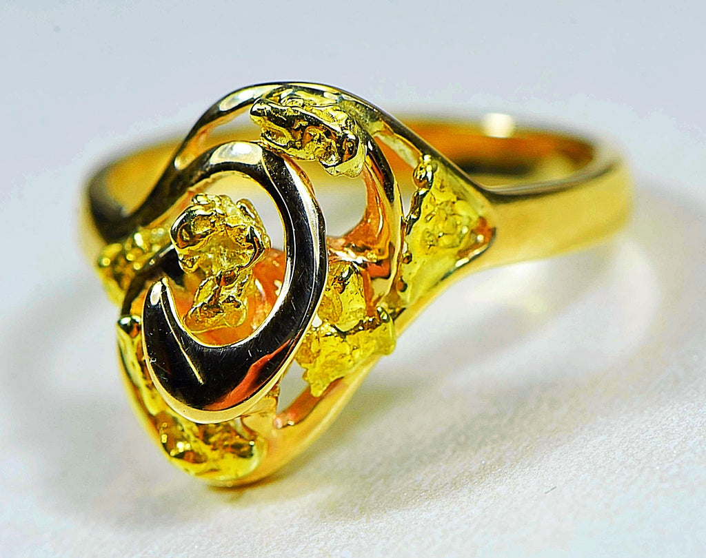 "Gold Nugget Ladies Ring ""Orocal"" RL254 Genuine Hand Crafted Jewelry - 14K Casting - Liquidbullion"