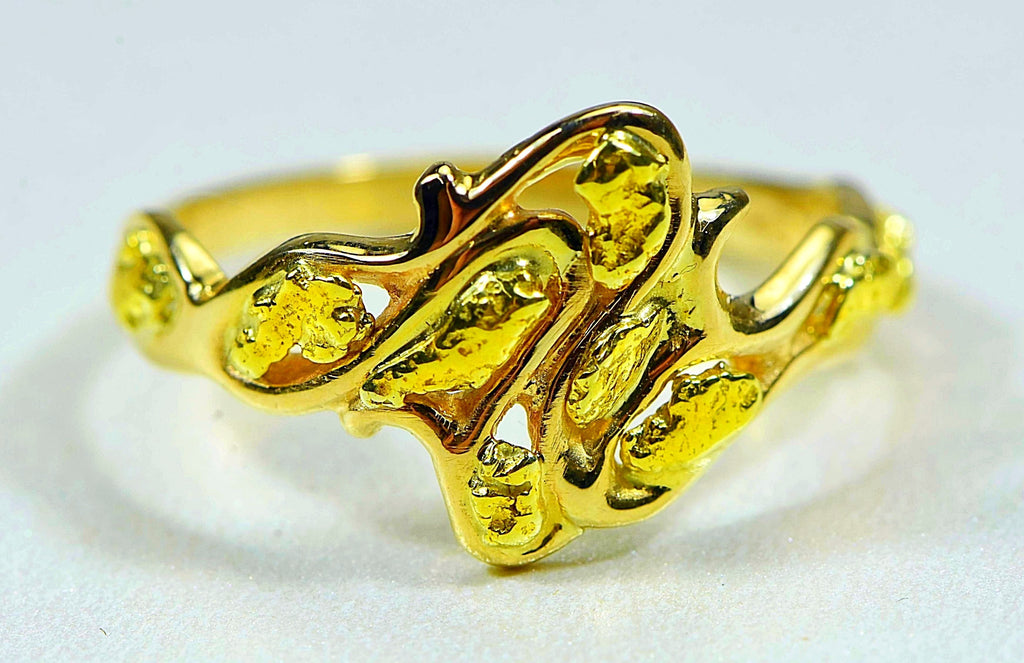 "Gold Nugget Ladies Ring ""Orocal"" RL180 Genuine Hand Crafted Jewelry - 14K Casting - Liquidbullion"