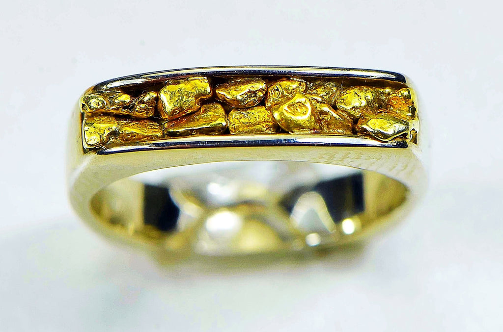 "Gold Nugget Ladies Ring ""Orocal"" RL902NW Genuine Hand Crafted Jewelry - 14K Casting - Liquidbullion"