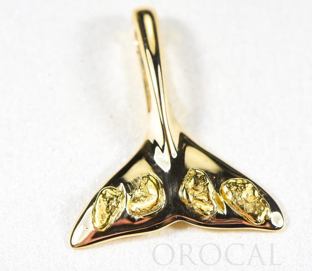"Gold Nugget Pendant Whales Tail ""Orocal"" PWT101X Genuine Hand Crafted Jewelry - 14K Gold Yellow Gold Casting - Liquidbullion"