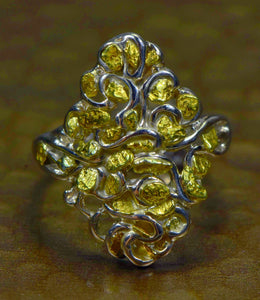 "Gold Nugget Ladies Ring ""Orocal"" RL239SS Genuine Hand Crafted Jewelry - Liquidbullion"