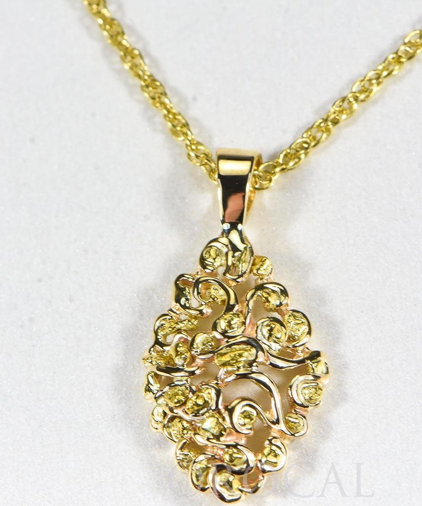 "Gold Nugget Pendant ""Orocal"" PN239X Genuine Hand Crafted Jewelry - 14K Gold Yellow Gold Casting - Liquidbullion"