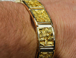 "Gold Nugget Bracelet ""Orocal"" B16MM Genuine Hand Crafted Jewelry - 14K Gold Casting - Liquidbullion"