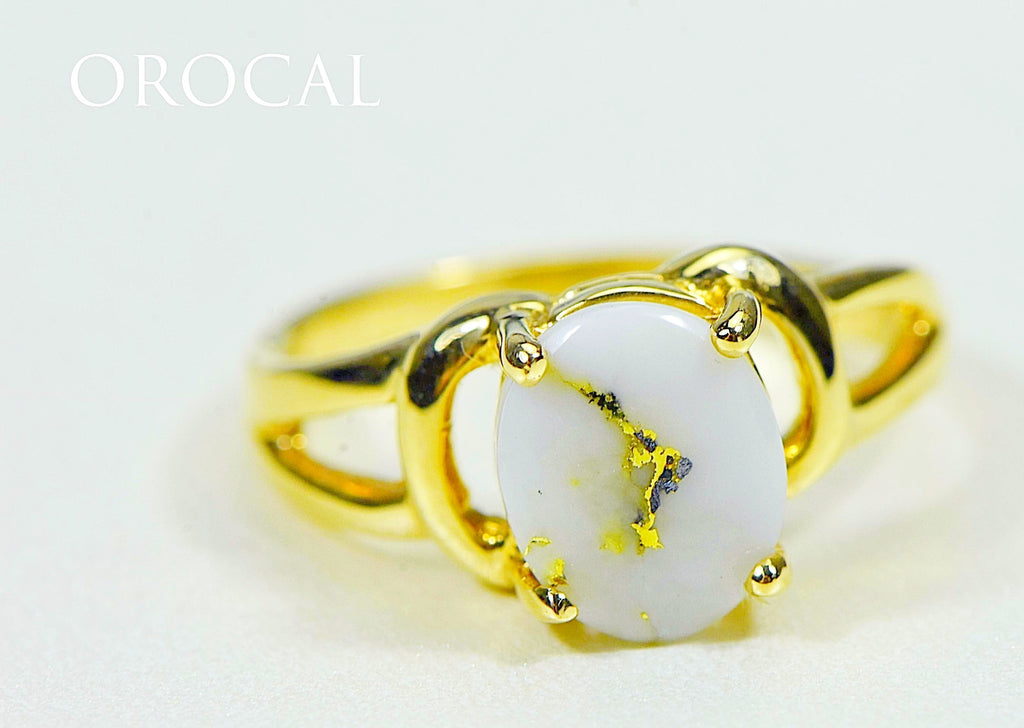 "Gold Quartz Ring ""Orocal"" RL1023Q Genuine Hand Crafted Jewelry - 14K Gold Casting - Liquidbullion"