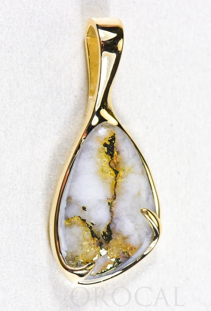 "Gold Quartz Pendant  ""Orocal"" PSC102Q Genuine Hand Crafted Jewelry - 14K Gold Yellow Gold Casting - Liquidbullion"