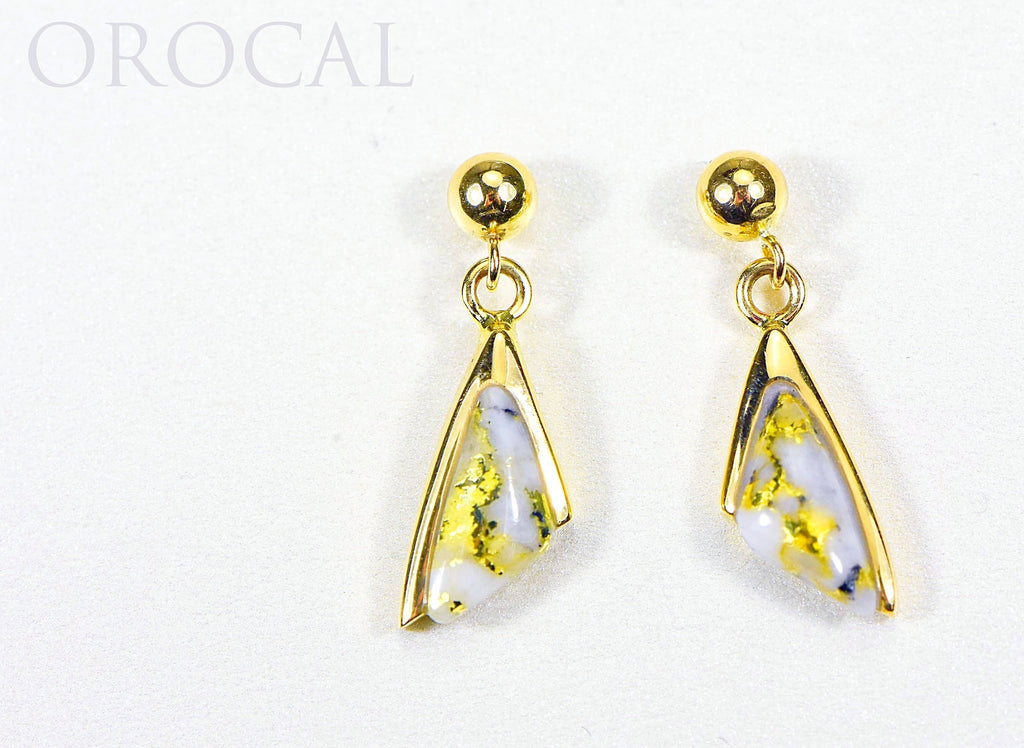 "Gold Quartz Earrings ""Orocal"" EDL25SQ/PD Genuine Hand Crafted Jewelry - 14K Gold Casting - Liquidbullion"