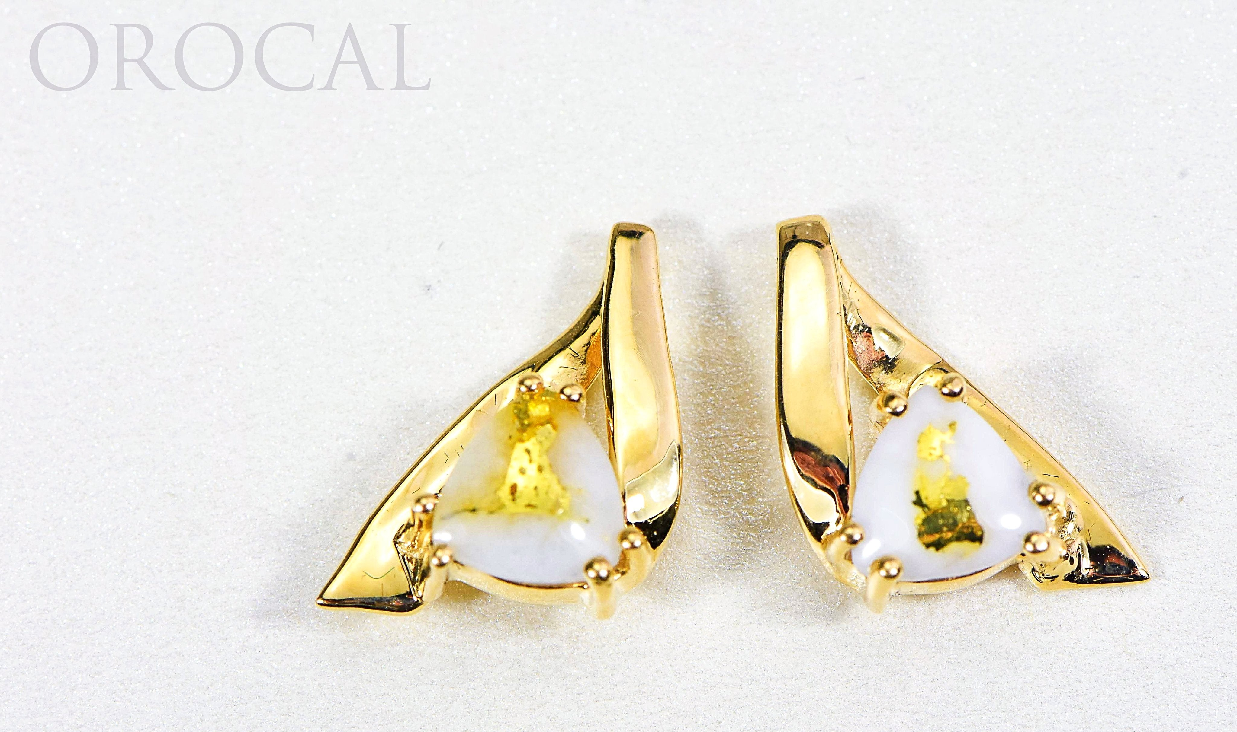 "Gold Quartz Earrings ""Orocal"" EDL77Q Genuine Hand Crafted Jewelry - 14K Gold Casting - Liquidbullion"