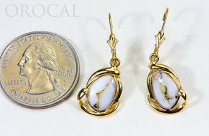 "Gold Quartz Earrings ""Orocal"" EN1105Q/LB Genuine Hand Crafted Jewelry - 14K Gold Casting - Liquidbullion"