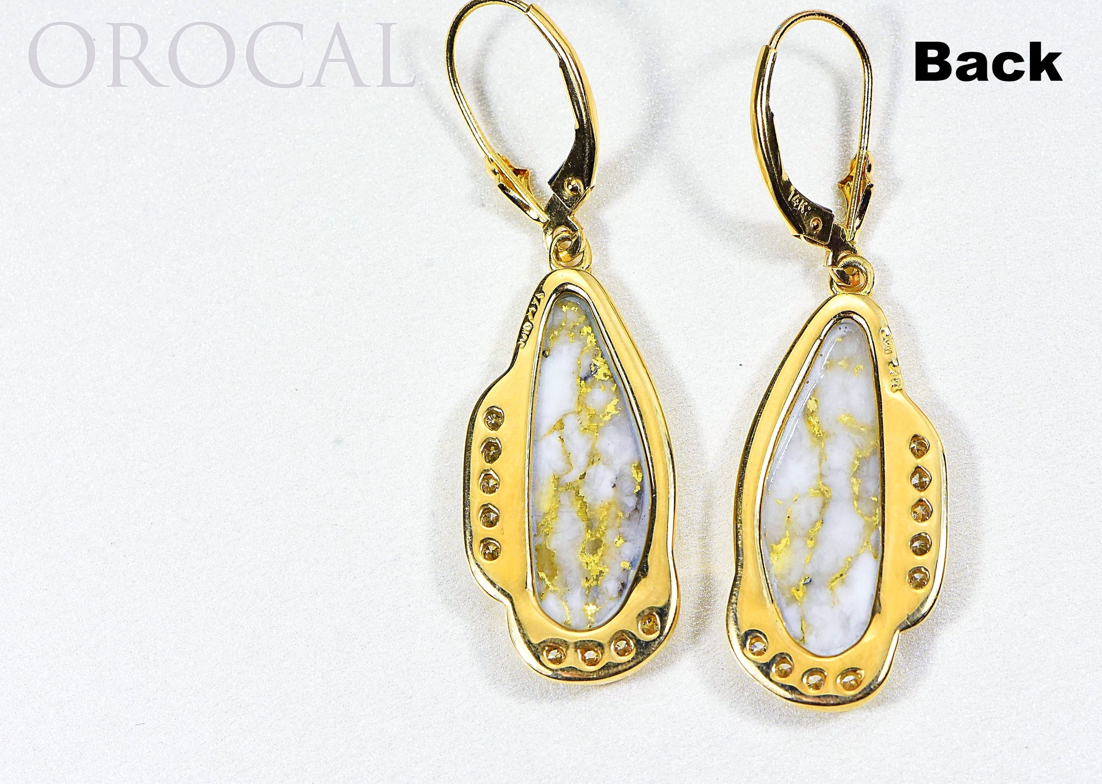 "Gold Quartz Earrings ""Orocal"" EN1106SDQ/LB Genuine Hand Crafted Jewelry - 14K Gold Casting - Liquidbullion"