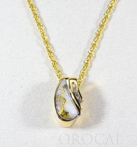 "Gold Quartz Pendant ""Orocal"" PDL47SD8QX Genuine Hand Crafted Jewelry - 14K Gold Yellow Gold Casting - Liquidbullion"