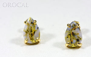 "Gold Quartz Earrings ""Orocal"" E10*7Q Genuine Hand Crafted Jewelry - 14K Gold Casting - Liquidbullion"