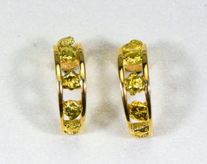 "Gold Nugget Earrings ""Orocal"" EH18 Genuine Hand Crafted Jewelry - 14K Gold Casting - Liquidbullion"