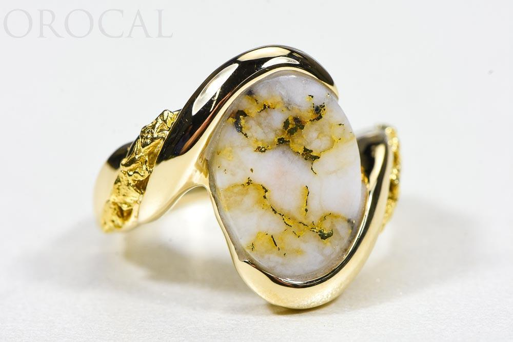 "Gold Quartz Ring ""Orocal"" RL1002NQ Genuine Hand Crafted Jewelry - 14K Gold Casting - Liquidbullion"