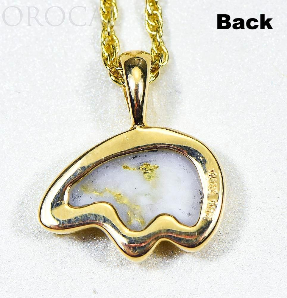 "Gold Quartz Pendant Bear ""Orocal"" PBR1MHQX Genuine Hand Crafted Jewelry - 14K Gold Casting - Liquidbullion"