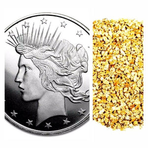 1 TROY OZ .999 SILVER PEACE DOLLAR BU + 10 PIECE ALASKAN PURE GOLD NUGGETS - Liquidbullion