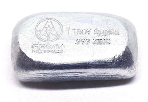 1 TROY OZ .999 FINE ZINC HAND POURED BULLION BAR - Liquidbullion