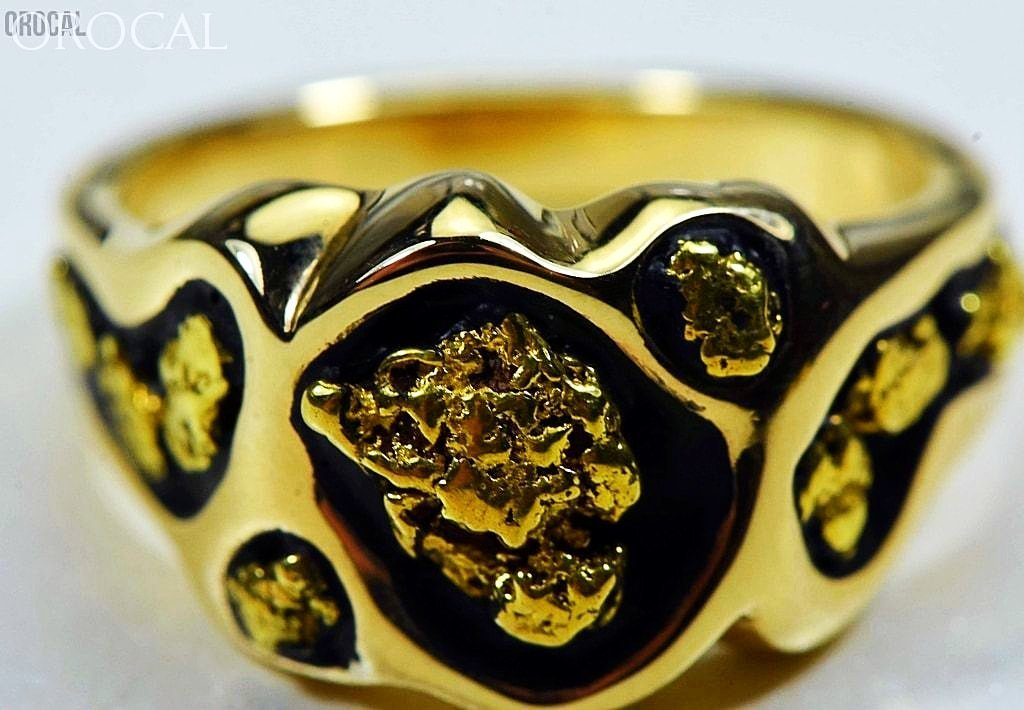 "Gold Nugget Men's Ring ""Orocal"" RM654 Genuine Hand Crafted Jewelry - 14K Gold Casting - Liquidbullion"