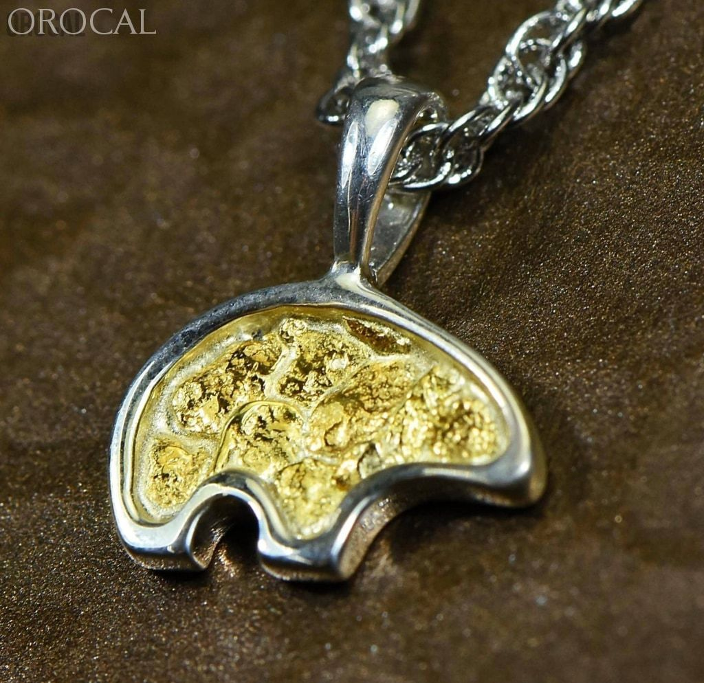 "Gold Nugget Pendant Bear - Sterling Silver - PBR1SOLSS- Hand Made ""Orocal"" Jewelry - Liquidbullion"