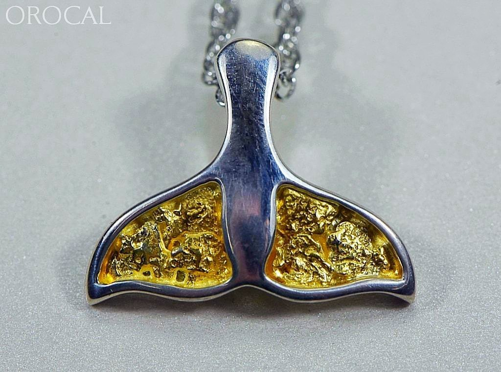 Gold Nugget Pendant Whales Tail - Sterling Silver - Special PWT32NSSX - Hand Made - Liquidbullion