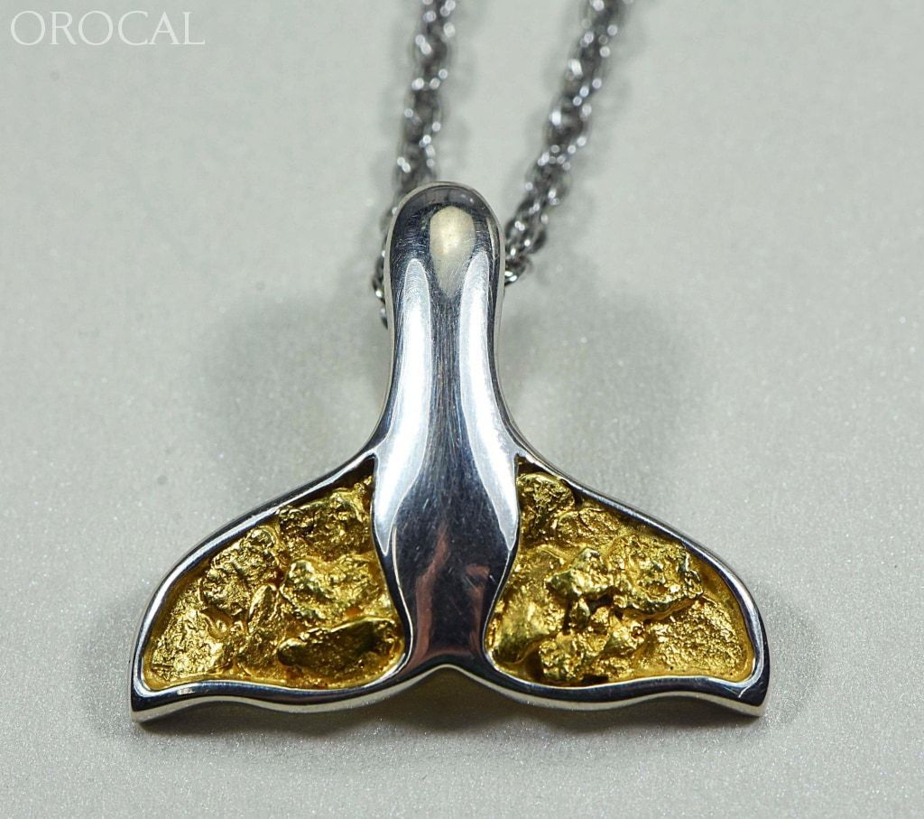 Gold Nugget Pendant Whales Tail - Sterling Silver - Special PWT34NSS - Hand Made - Liquidbullion