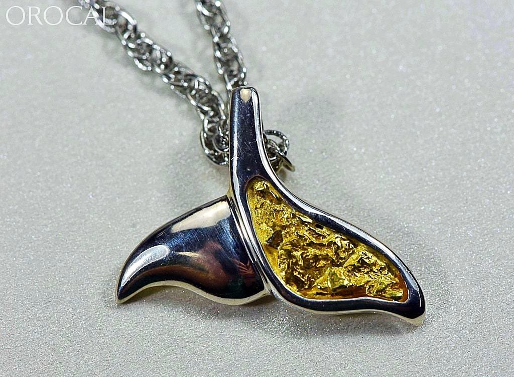 Gold Nugget Pendant Whales Tail - Sterling Silver - Special PWT37SNSS - Hand Made - Liquidbullion