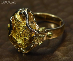 "Gold Nugget Women's Ring ""Orocal"" RL232L Genuine Hand Crafted Jewelry - 14K Casting - Liquidbullion"