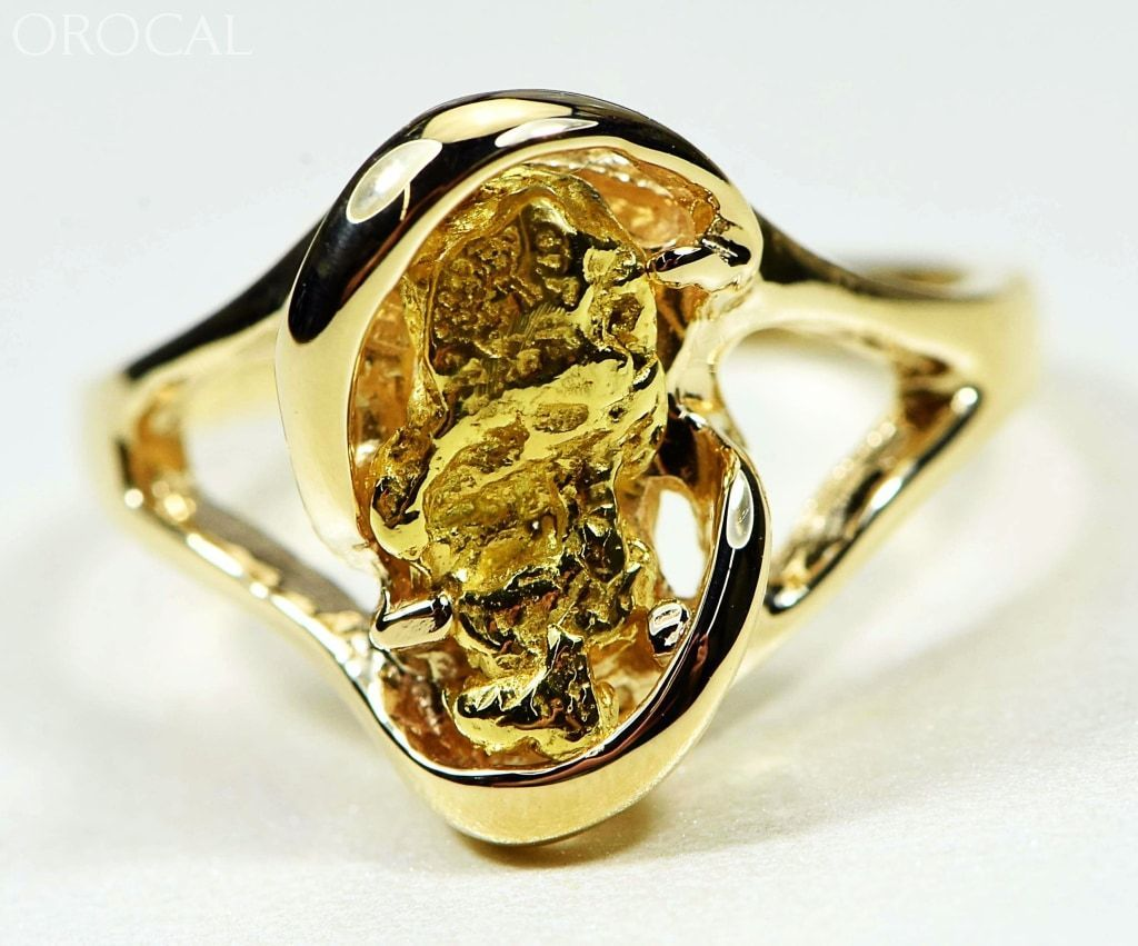 "Gold Nugget Women's Ring ""Orocal"" RL784SN Genuine Hand Crafted Jewelry - 14K Casting - Liquidbullion"
