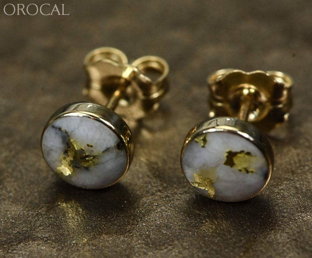 "Gold Quartz Earrings ""Orocal"" EBZ6MMQ Genuine Hand Crafted Jewelry - 14K Gold Yellow Gold Casting - Liquidbullion"