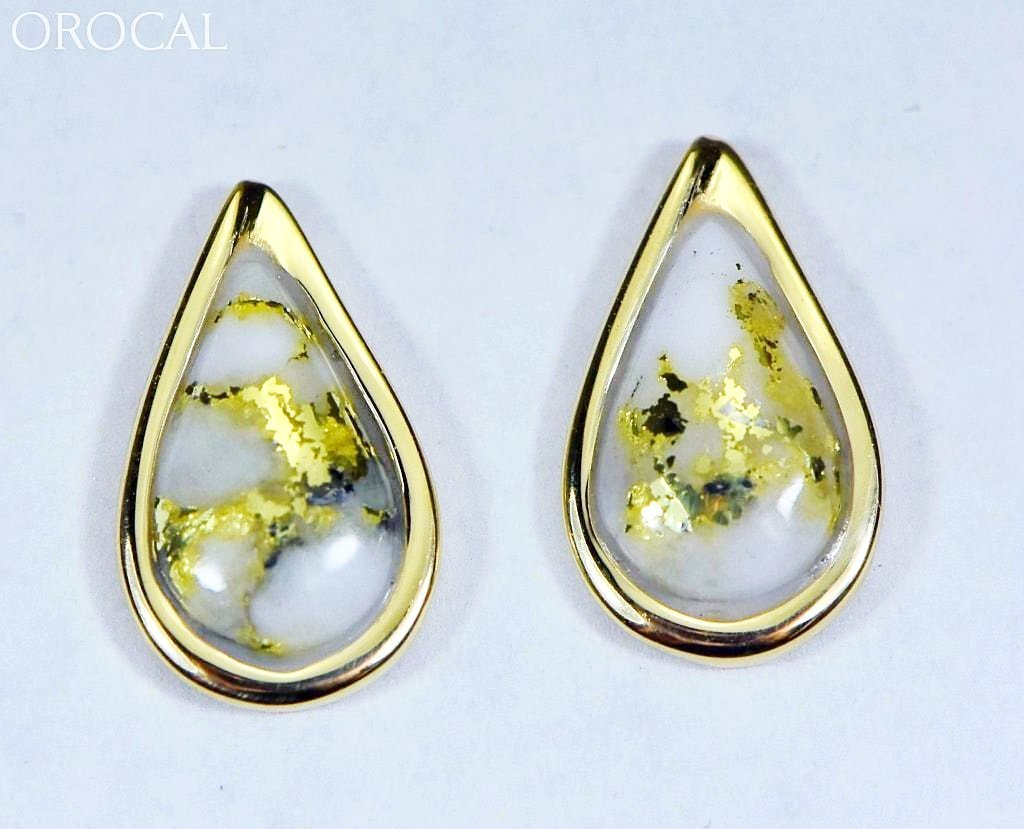 "Gold Quartz Earrings ""Orocal"" EN433Q Genuine Hand Crafted Jewelry - 14K Gold Casting - Liquidbullion"