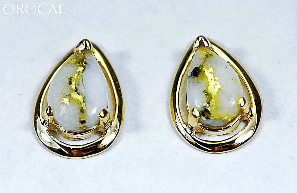 "Gold Quartz Earrings ""Orocal"" EN442Q Genuine Hand Crafted Jewelry - 14K Gold Casting - Liquidbullion"